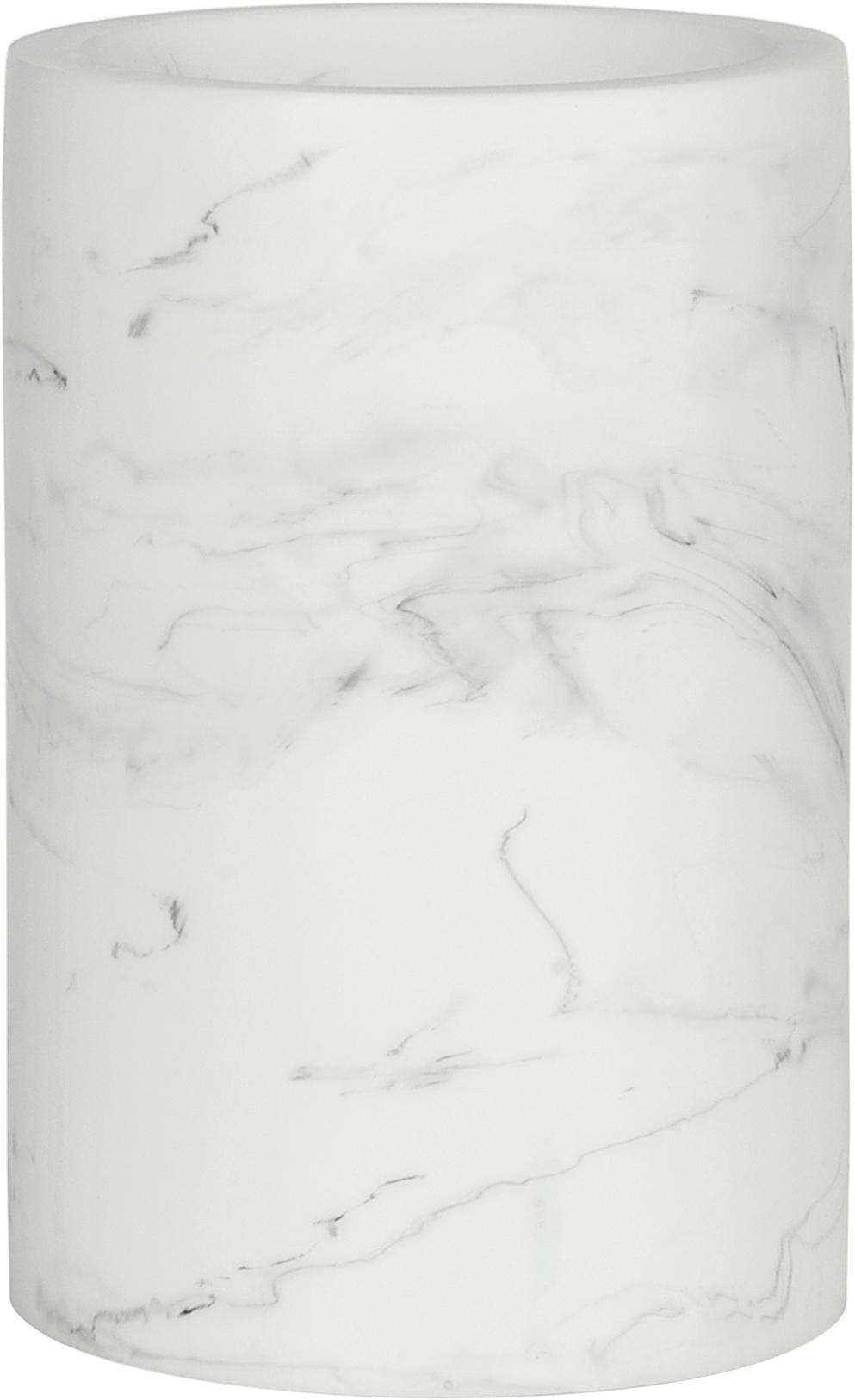 Zahnputzbecher Swan in Marmor-Optik, Kunststoff (Polyresin), Weiss, marmoriert, Ø 7 x H 11 cm