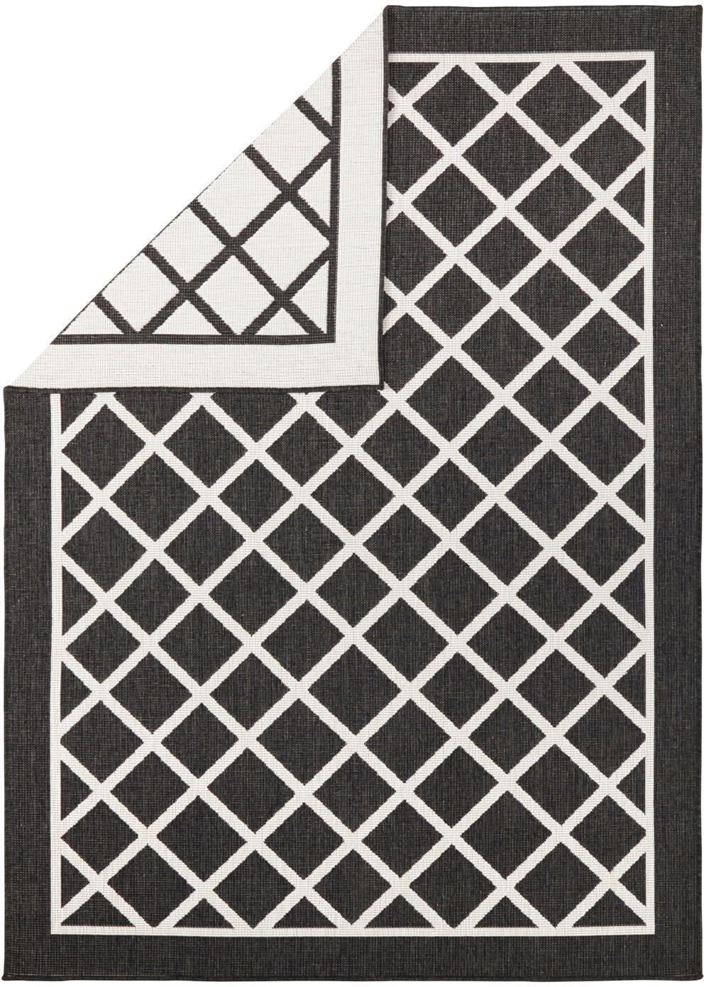 In- und Outdoor-Wendeteppich Sydney mit Rautenmuster in Schwarz/Creme, Schwarz, Creme, B 120 x L 170 cm (Größe S)