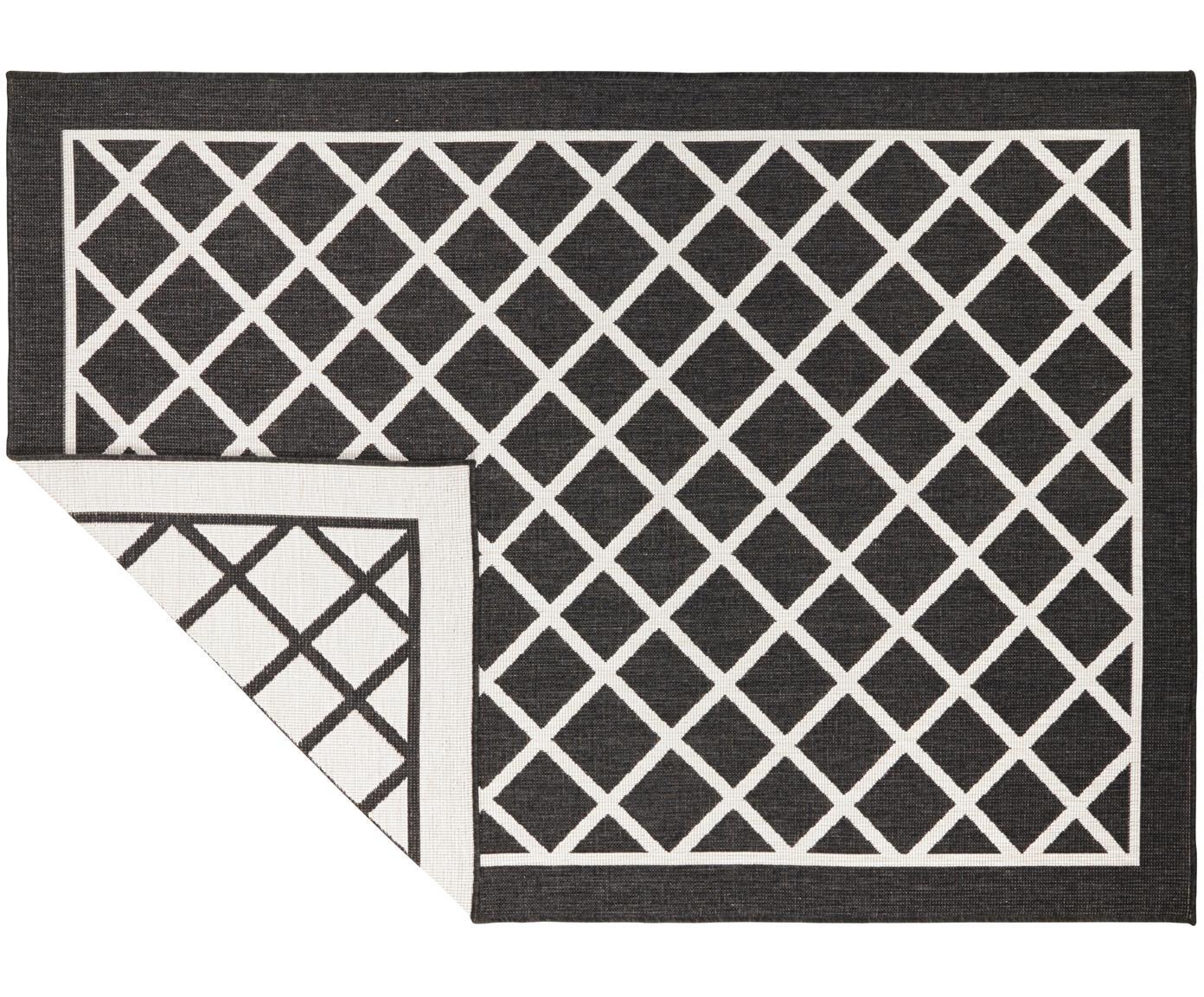 Dubbelzijdig in- en outdoor vloerkleed Sydney met ruitjesmotief in zwart/crèmekleur, Zwart, crèmekleurig, 120 x 170 cm
