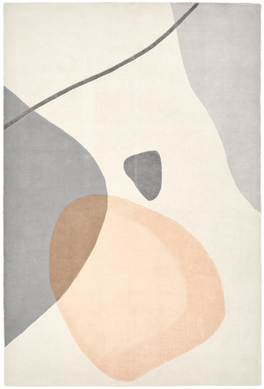 Handgetufteter Wollteppich Luke mit abstraktem Muster, Flor: 100% Wolle, Beige, Grau, Apricot, B 200 x L 300 cm (Größe L)