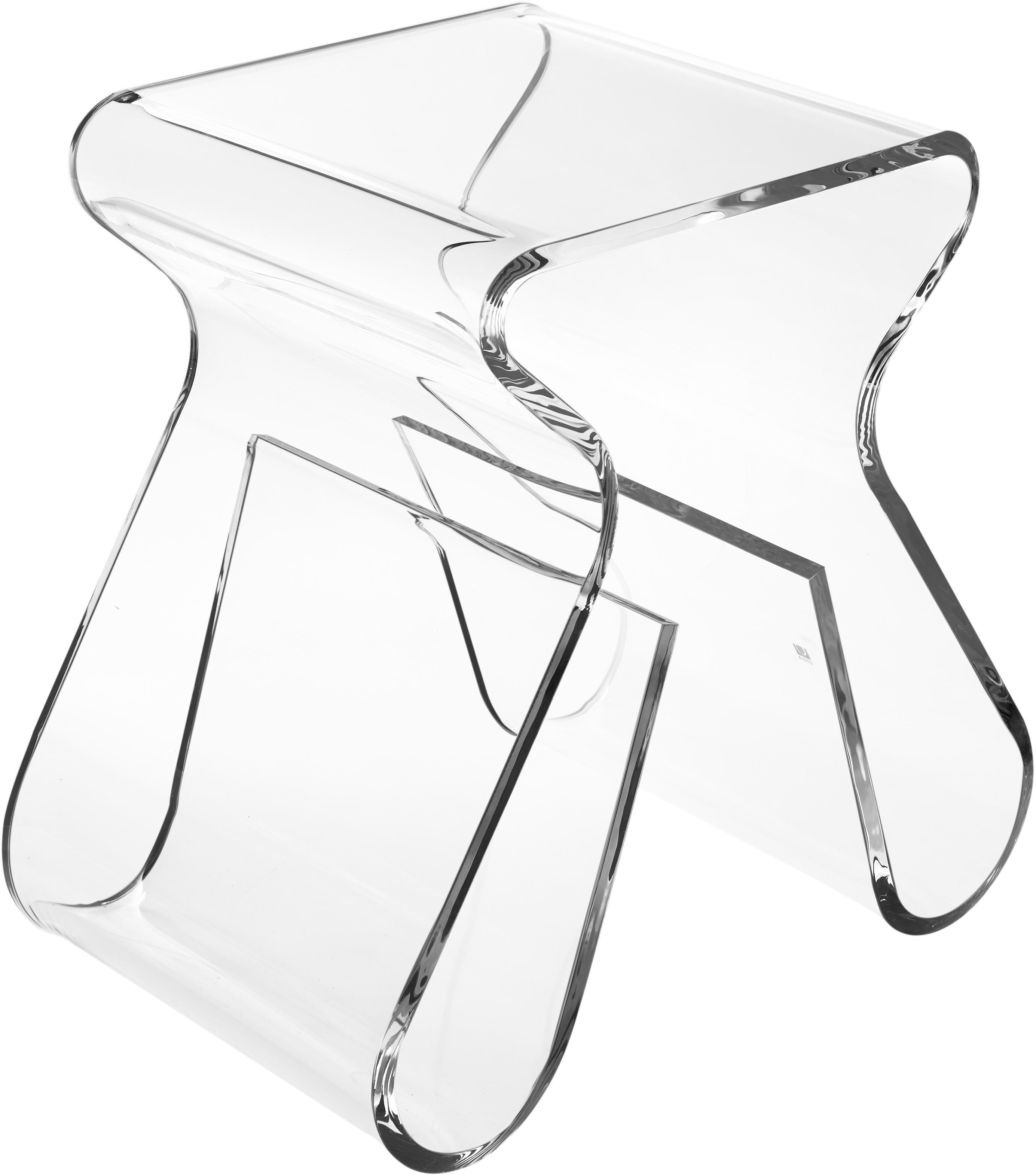 Sgabello trasparente Loop, Acrilico, Trasparente, Larg. 42 x Alt. 43 cm