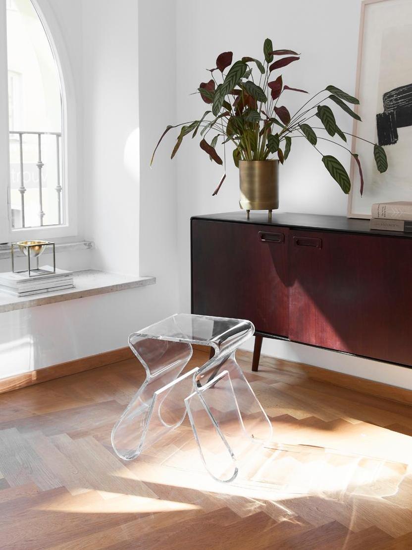 Transparenter Hocker Loop, Acryl, Transparent, 42 x 43 cm