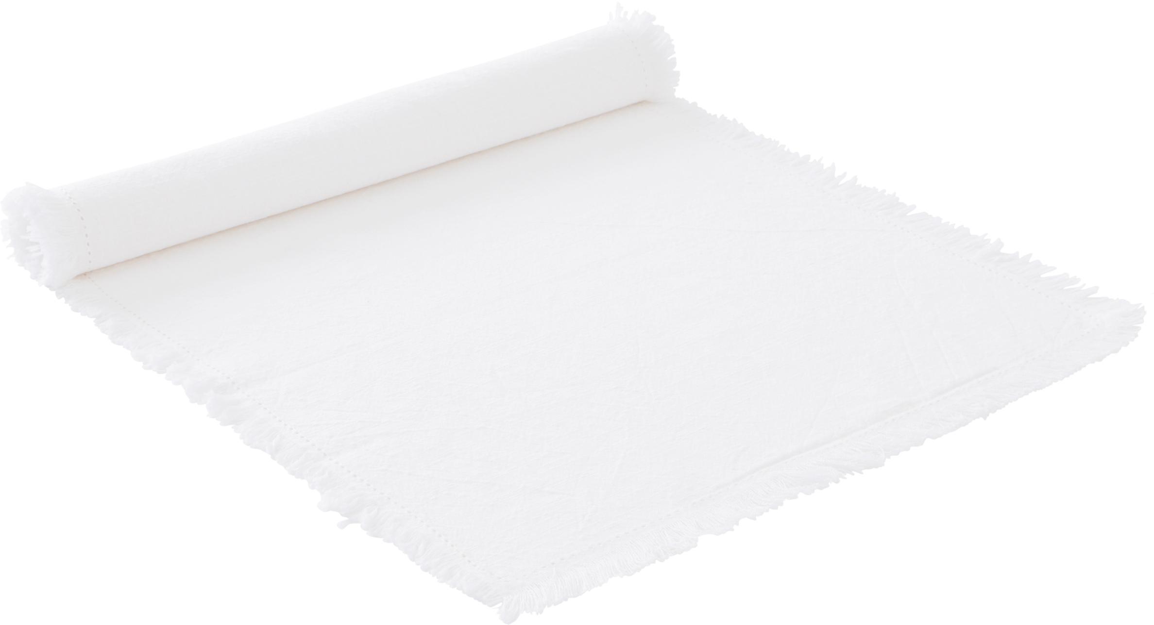 Tischläufer Hilma, 100% Baumwolle, Weiß, 40 x 140 cm