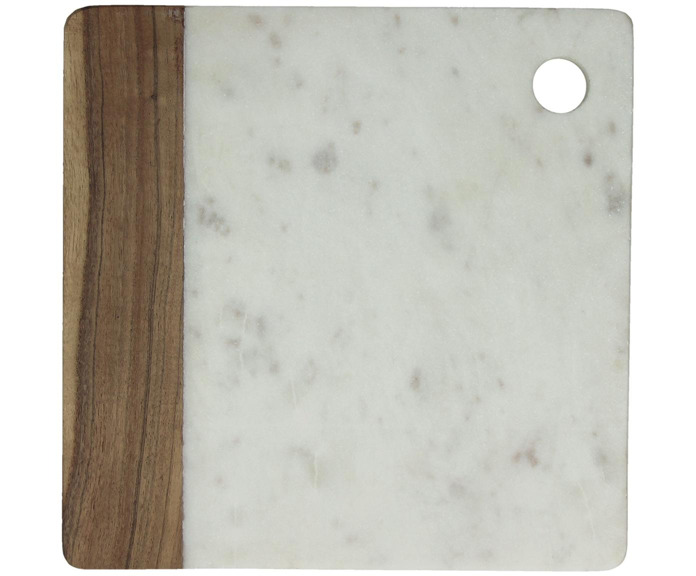 Marmeren snijplank Idli, Marmer, acaciahout, Wit gemarmerd, acaciakleurig, B 25 x D 25 cm