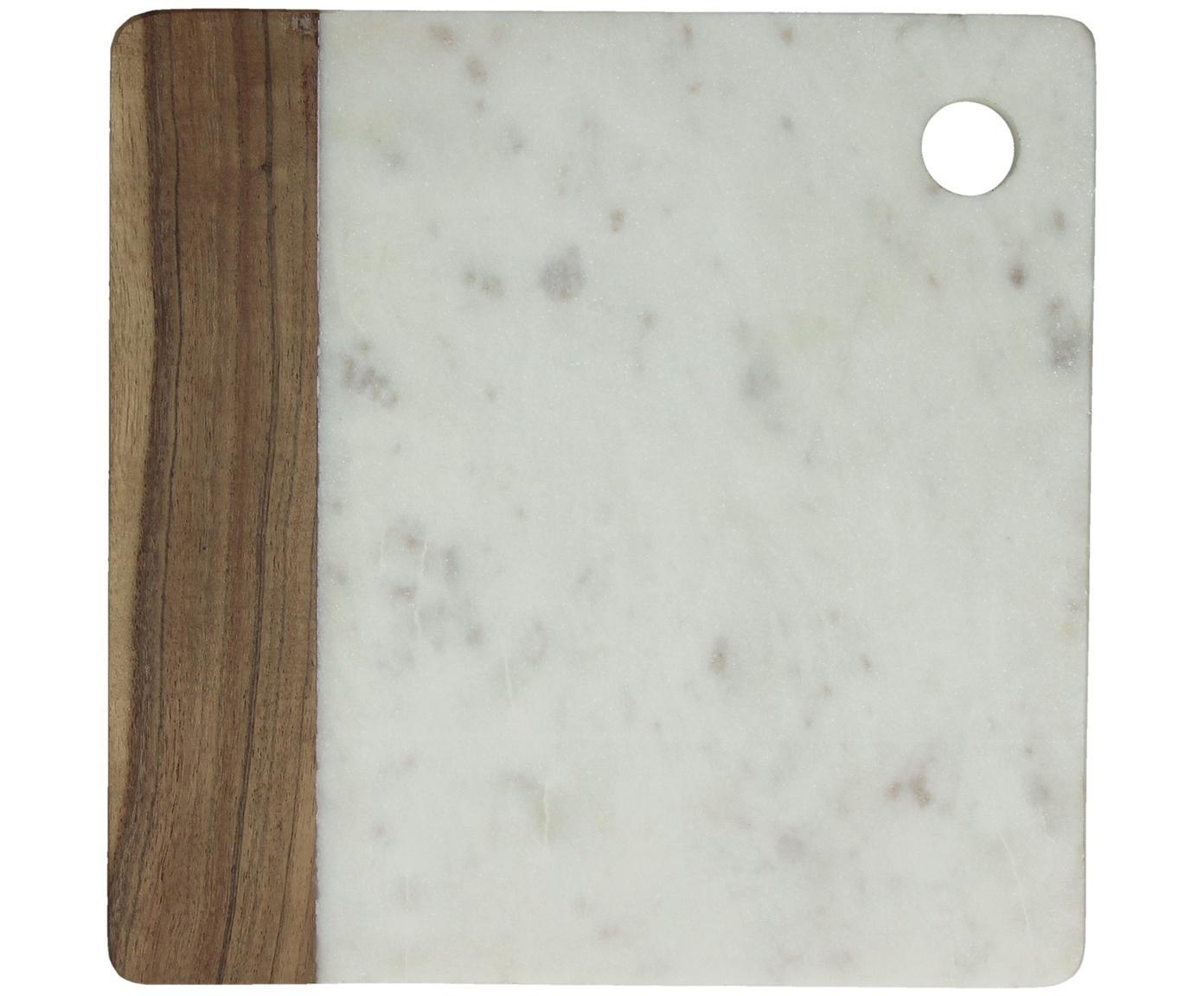 Marmor-Schneidebrett Idli, Marmor, Akazienholz, Weiss marmoriert, Akazienholz, B 25 x T 25 cm