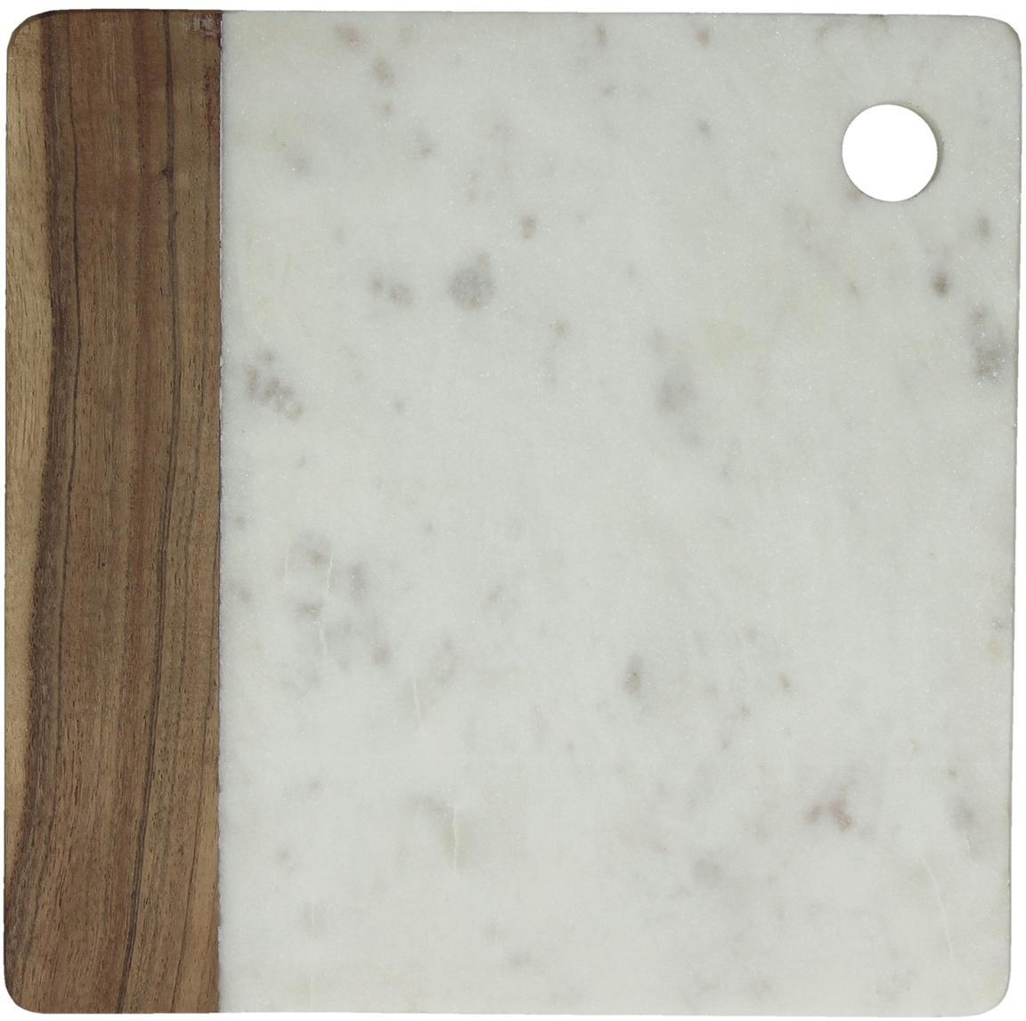 Deska do krojenia z marmuru Idli, Marmur, drewno akacjowe, Biały marmurowy, drewno akacjowe, 25 x 25 cm