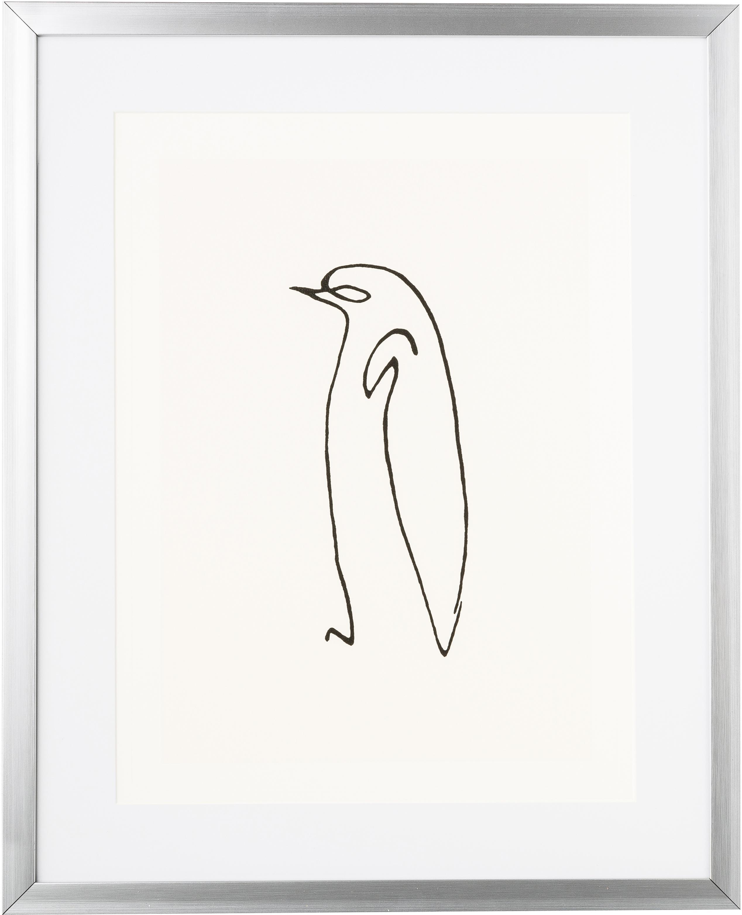 Gerahmter Digitaldruck Picasso's Pinguin, Bild: Digitaldruck, Rahmen: Kunststoff, Antik-Finish, Front: Glas, Bild: Schwarz, Weiß<br>Rahmen: Silberfarben, 40 x 50 cm
