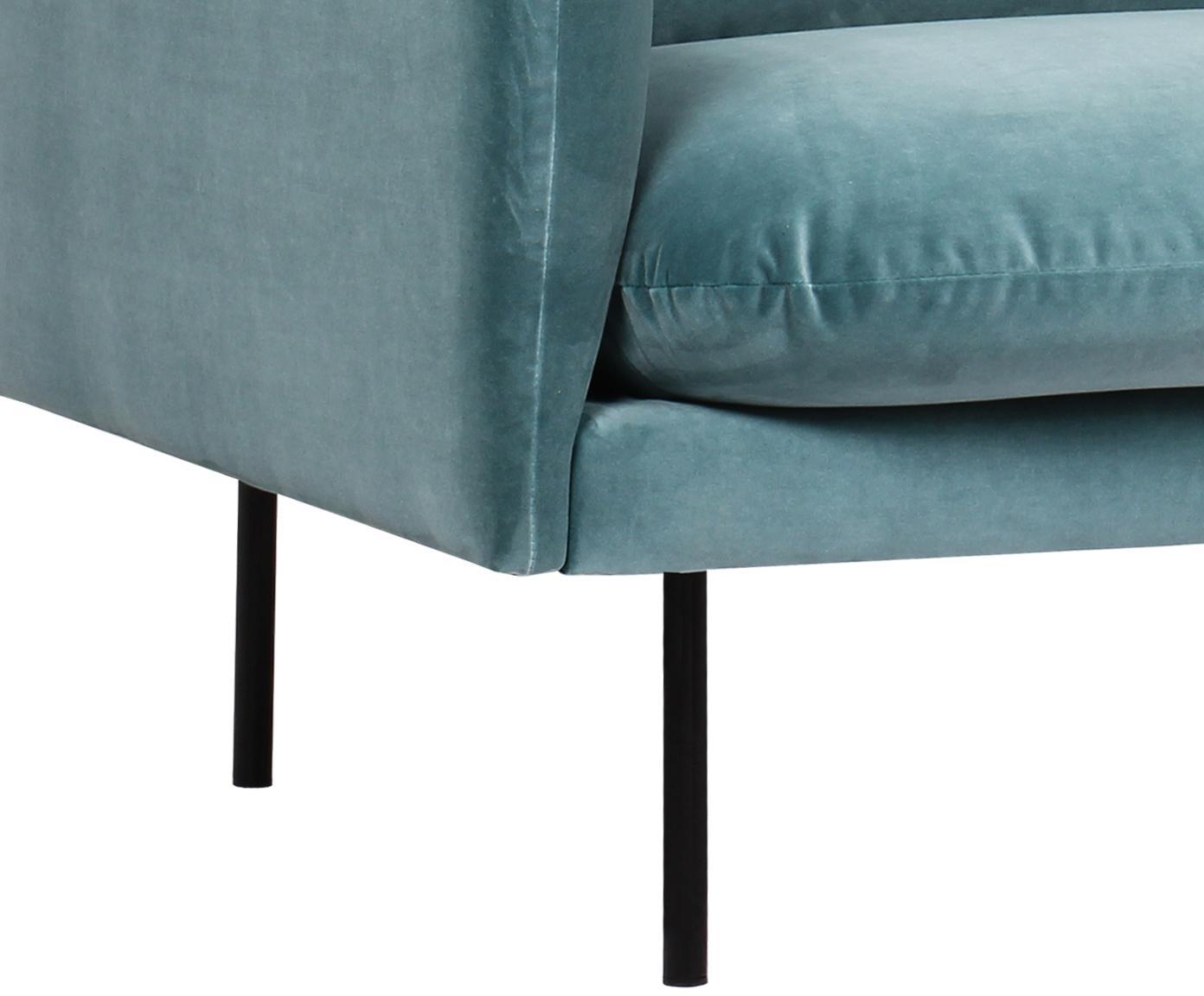 Fluwelen hoekbank Moby, Bekleding: fluweel (hoogwaardige pol, Frame: massief grenenhout, Poten: gepoedercoat metaal, Turquoise, B 280 x D 160 cm