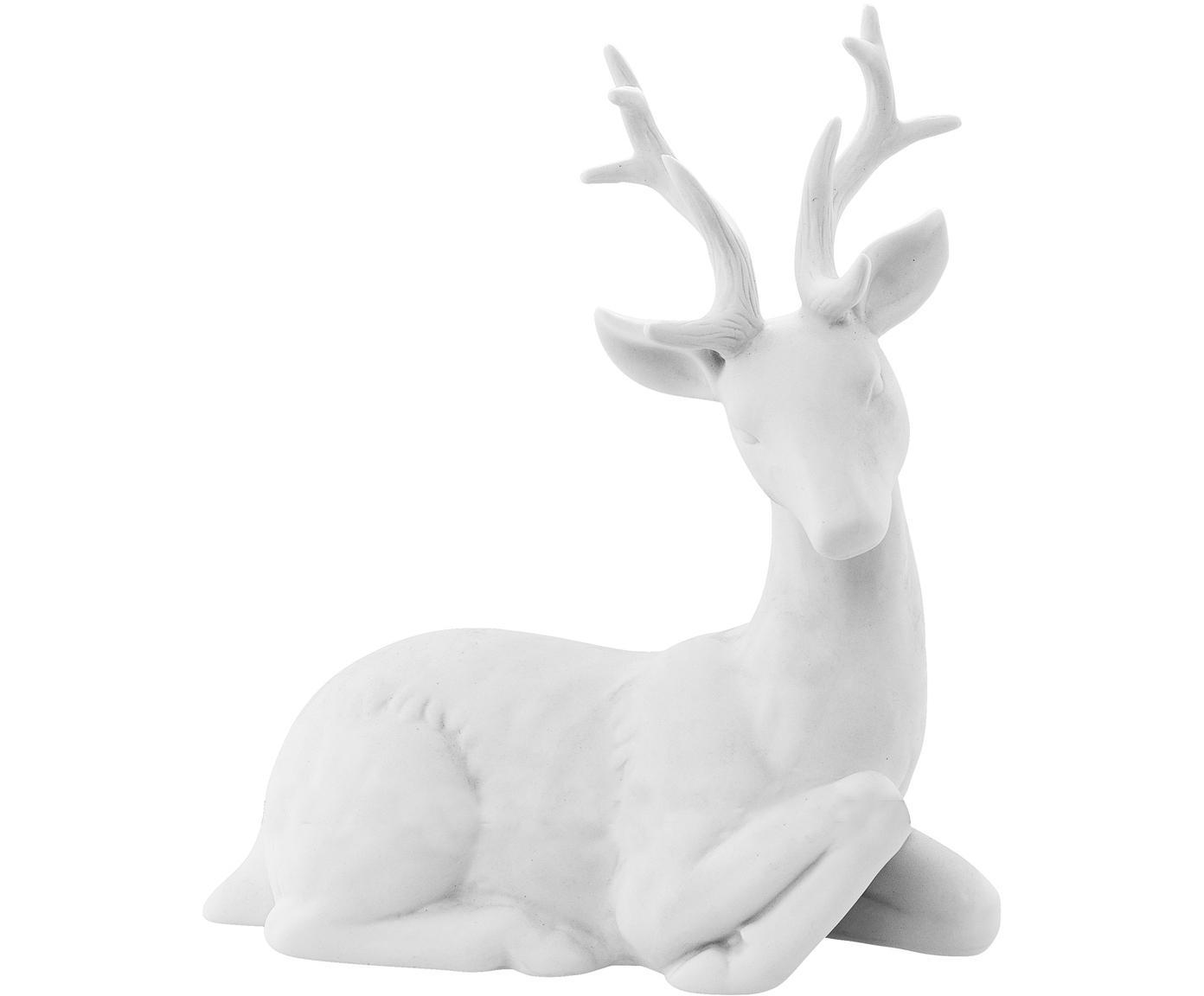 Deko-Objekt Reindeer, Porzellan, Weiß, 19 x 22 cm