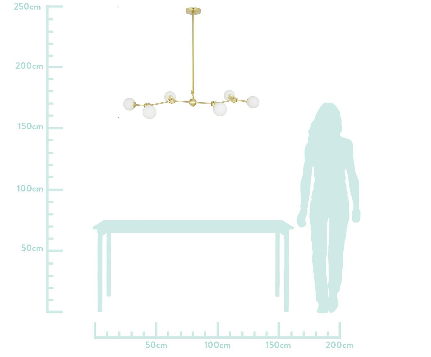 Lampa wisząca XL Aurelia, Biały, mosiądz, S 110 x W 68-118 cm