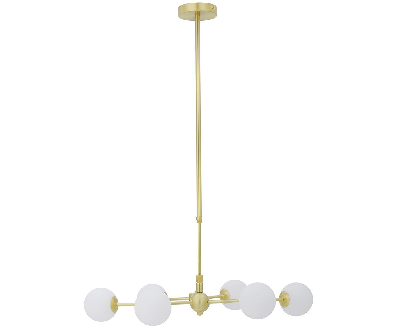 Grote hanglamp Aurelia goudkleurig, Wit, messingkleurig, B 110 x D 55 cm