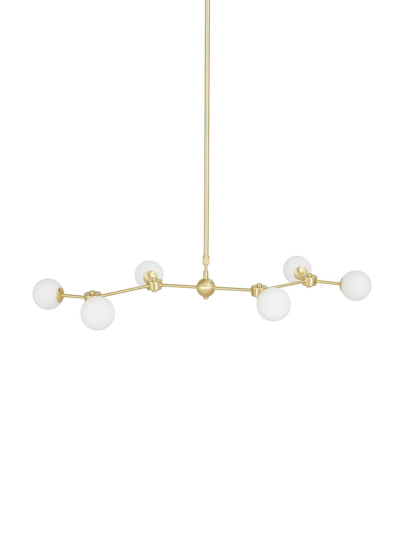 Grosse Pendelleuchte Aurelia in Gold, Weiss, Messing, 110 x 68 cm