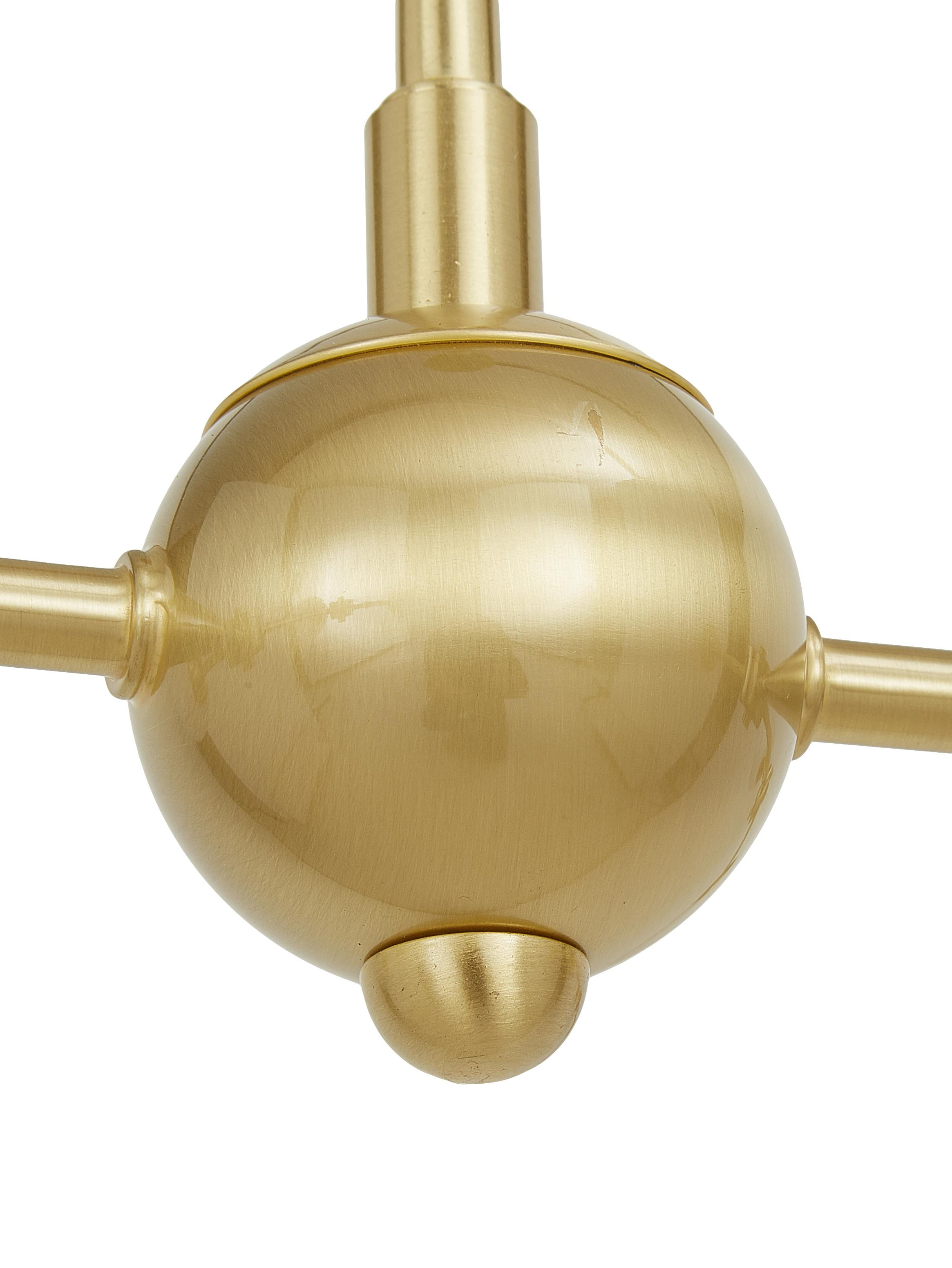 Grosse Pendelleuchte Aurelia in Gold, Weiss, Messing, 110 x 68 cm