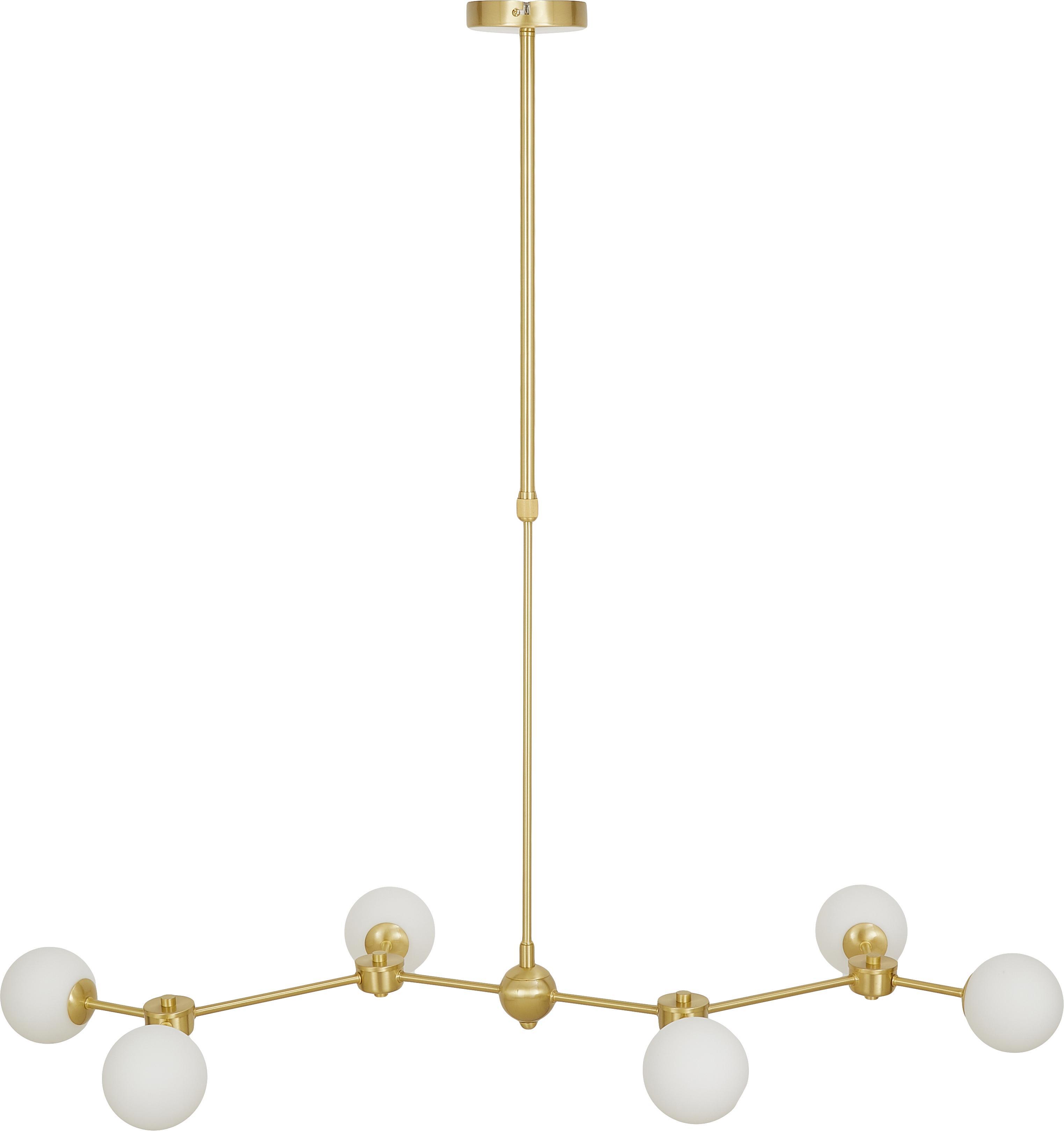 Grande suspension en métal doré Aurelia, Blanc, laiton