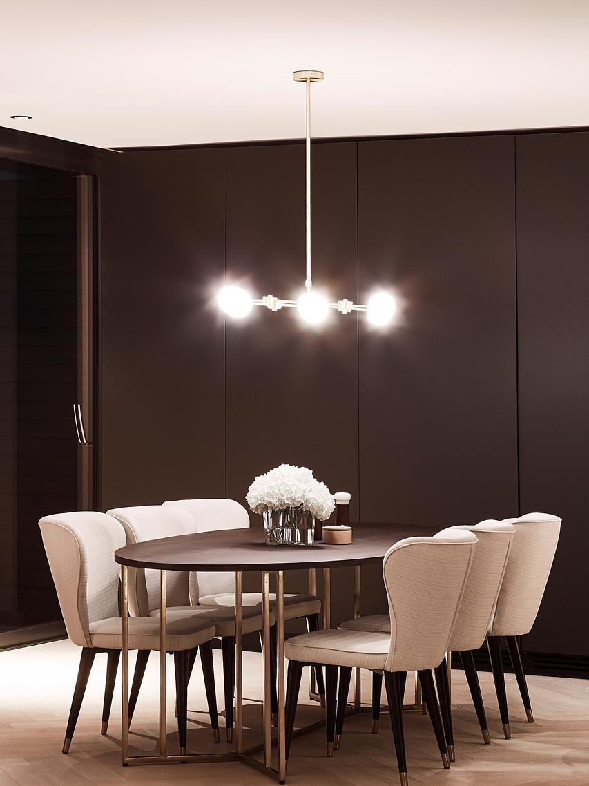 Lampada a sospensione Aurelia, Paralume: vetro, Bianco, ottone, Larg. 110 x Alt. 90-150 cm