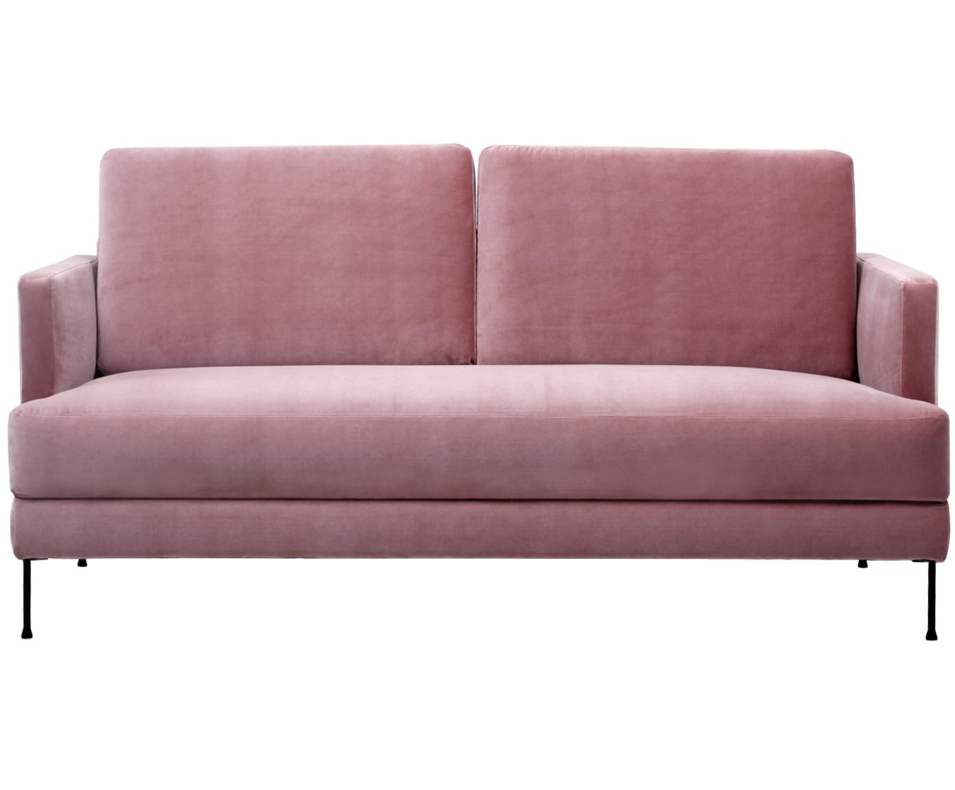 Fluwelen bank Fluente (2-zits), Bekleding: fluweel (hoogwaardig poly, Frame: massief grenenhout, Poten: gelakt metaal, Roze, B 168 x D 83 cm