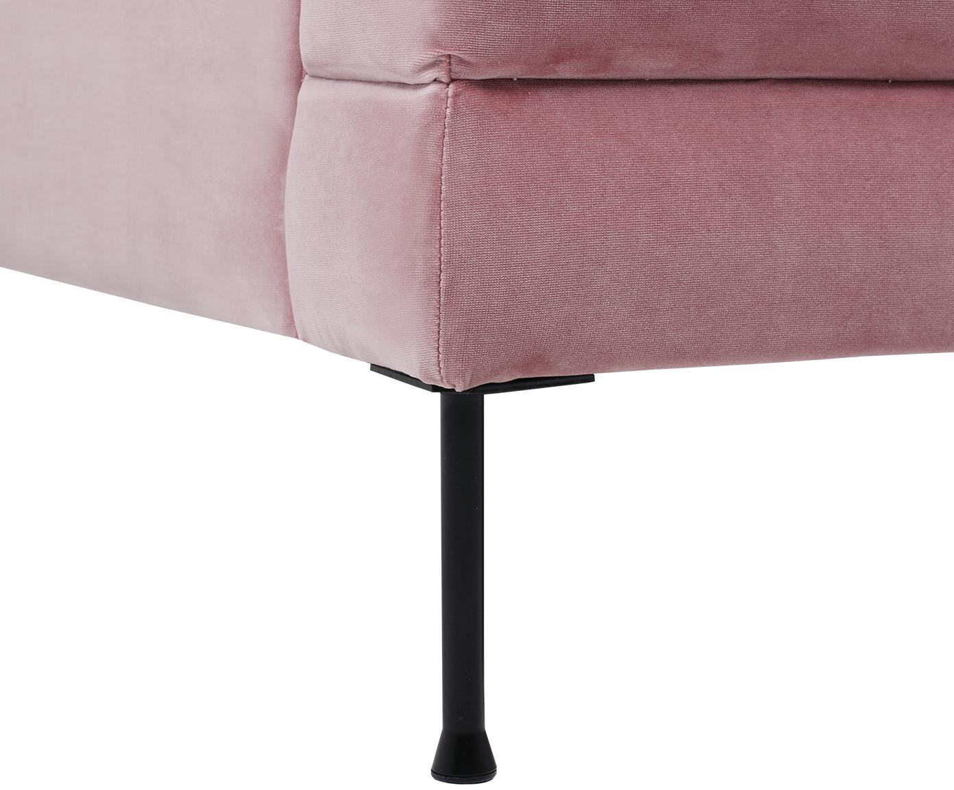 Divano 2 posti in velluto rosa Fluente, Rivestimento: velluto (copertura in pol, Struttura: legno di pino massiccio, Piedini: metallo verniciato, Velluto rosa, Larg. 168 x Prof. 83 cm