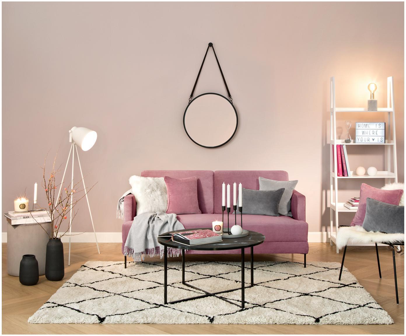 Sofa z aksamitu Fluente (2-osobowa), Tapicerka: aksamit (wysokiej jakości, Stelaż: lite drewno sosnowe, Nogi: metal lakierowany, Aksamitny blady różowy, S 168 x G 83 cm