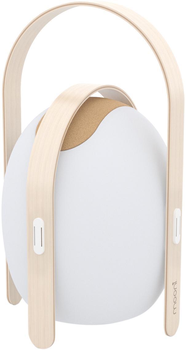 Lampada da esterno a LED portatile Ovo, Paralume: materiale sintetico (LDPE, Struttura: legno di olmo con impiall, Bianco, marrone chiaro, Ø 32 x A 50 cm