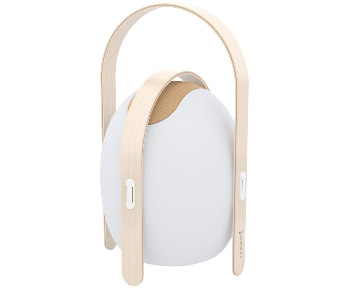 Mobiele outdoor LED lamp met luidspreker Ovo, Lampenkap: kunststof (LDPE), Frame: olmenhout met berkenhoutf, Wit, lichtbruin, Ø 32 x H 50 cm
