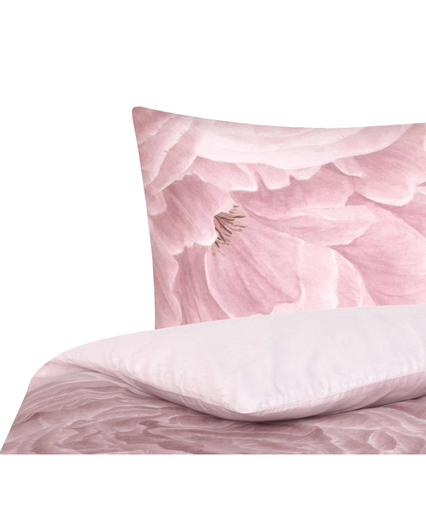 Baumwollperkal-Bettwäsche Rosario mit Aquarell Blumen-Print, Webart: Perkal Fadendichte 210 TC, Weiß, Rosa, 135 x 200 cm + 1 Kissen 80 x 80 cm