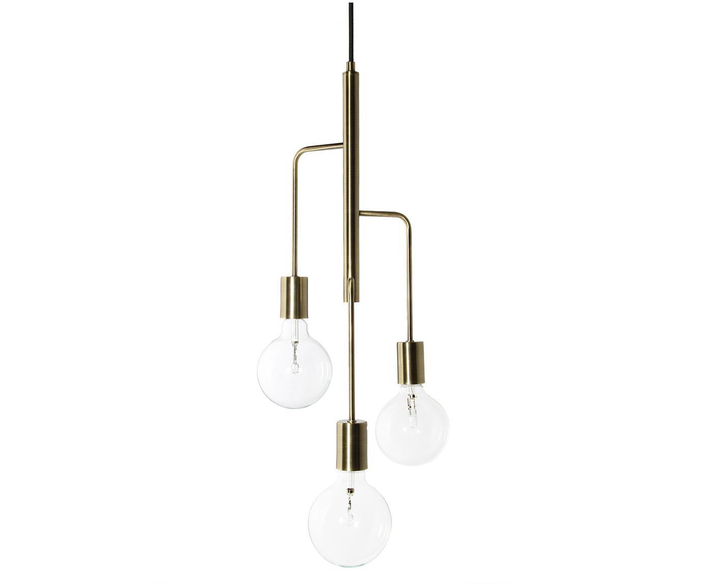Scandi hanglamp Cool, Vermessingd metaal, Glanzend messingkleurig, Ø 25 x H 60 cm