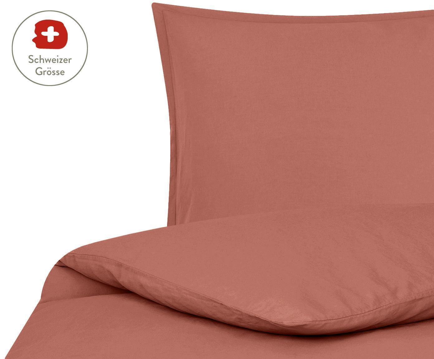 Gewaschener Leinen-Bettdeckenbezug Nature in Terrakotta, 52% Leinen, 48% Baumwolle Mit Stonewash-Effekt, Terrakotta, 160 x 210 cm