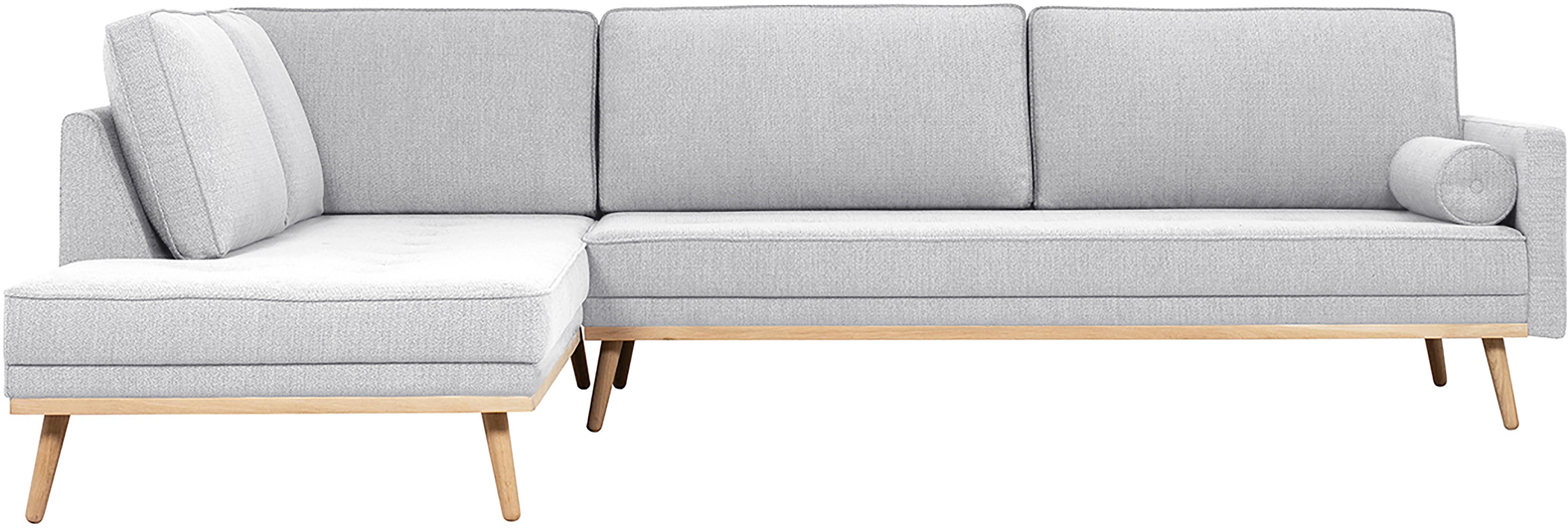 Ecksofa Saint (4-Sitzer), Bezug: Polyester Der hochwertige, Gestell: Massives Kiefernholz, Spa, Webstoff Hellgrau, 294 x 70 cm