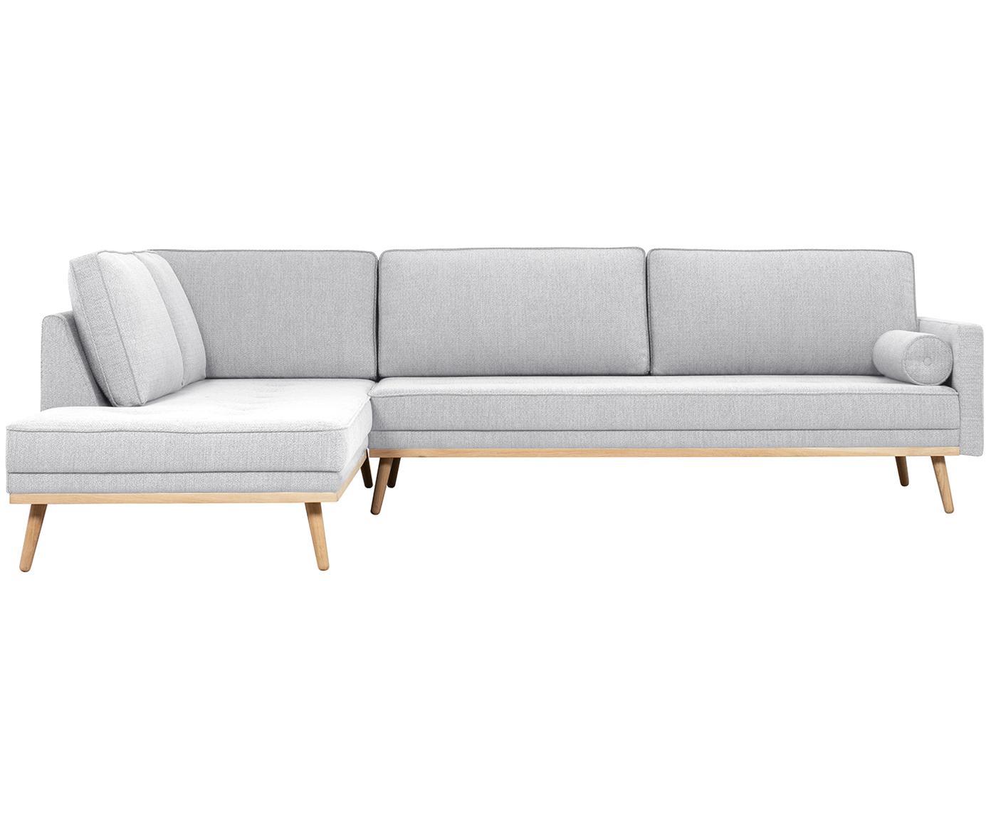 Ecksofa Saint (4-Sitzer), Bezug: Polyester 50.000 Scheuert, Gestell: Massives Kiefernholz, Spa, Webstoff Hellgrau, 294 x 70 cm