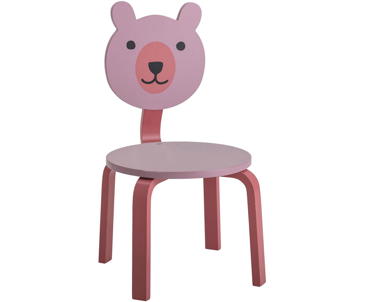 Silla infantil Bear, Tablero de fibras de densidad media(MDF), pintado, Tonos rosas, An 32 x Al 60 cm