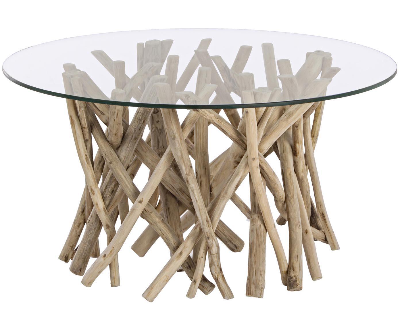 Stolik kawowy z drewna tekowego Samira, Blat: hartowane szkło, Stelaż: drewno tekowe, bielone i , Blat: transparentny Stelaż: drewno tekowe, bielone, antyczne wykończenie, S 80 x G 80 cm
