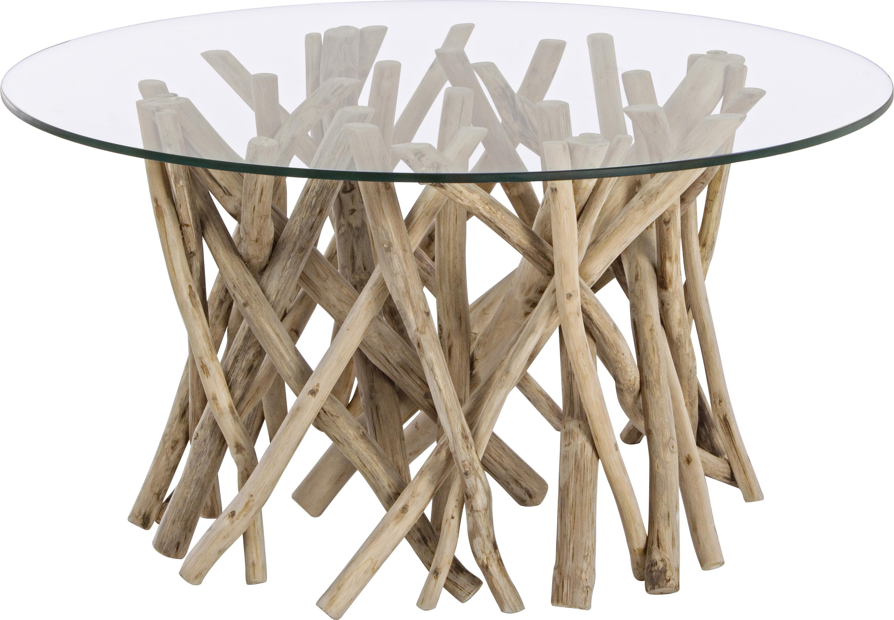 Mesa de centro de teca Samira, tablero de cristal, Tablero: vidrio templado, Estructura: madera de teca blanca y e, Transaparente, teca blanqueada patinada, An 80 x F 40 cm