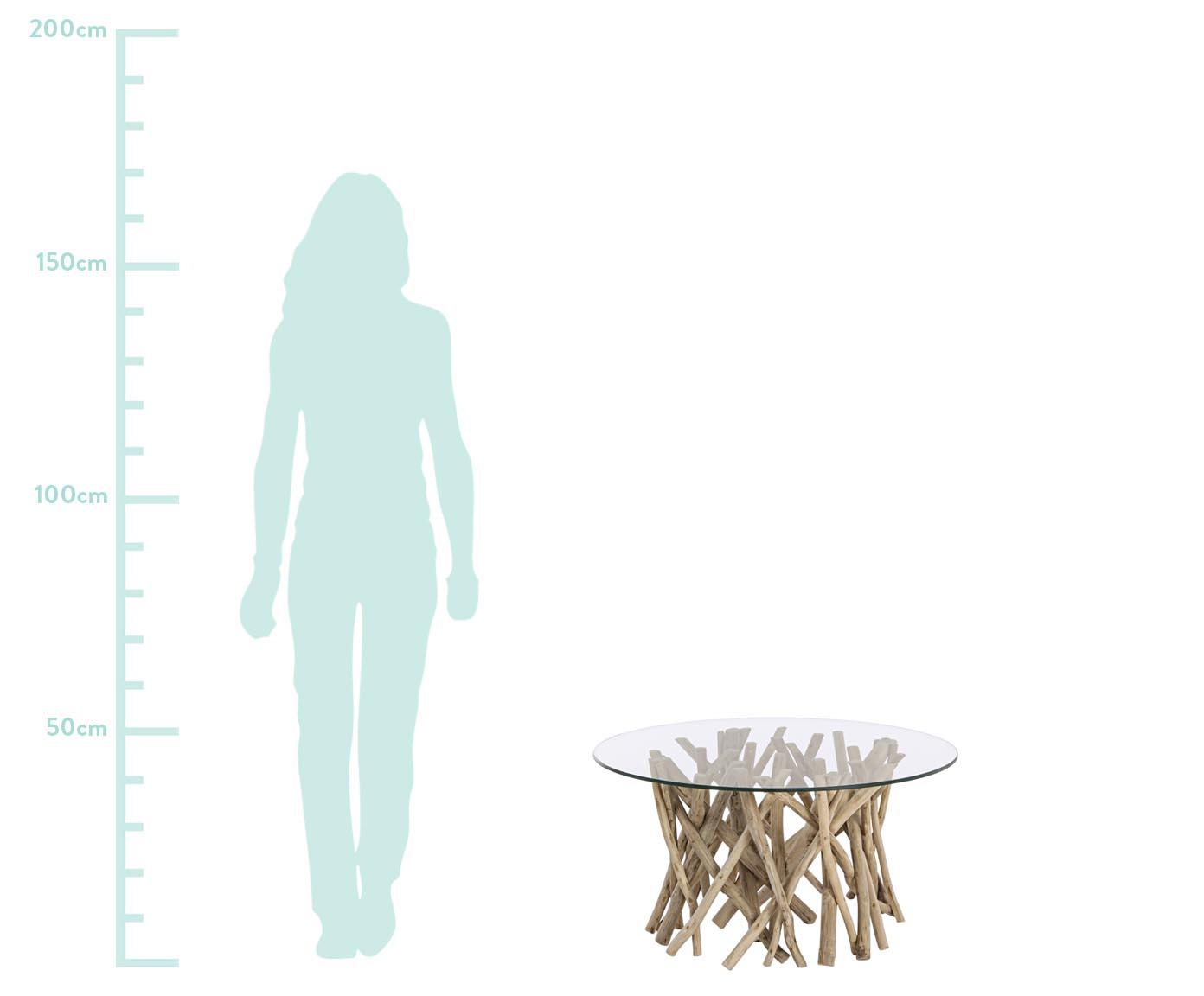 Tavolino da salotto con rami di teak Samira, Piano d'appoggio: vetro temperato, Struttura: legno di teak, sbiancato , Piano: trasparente Struttura: teak, sbiancato, finitura anticata, Larg. 80 x Alt. 40 cm
