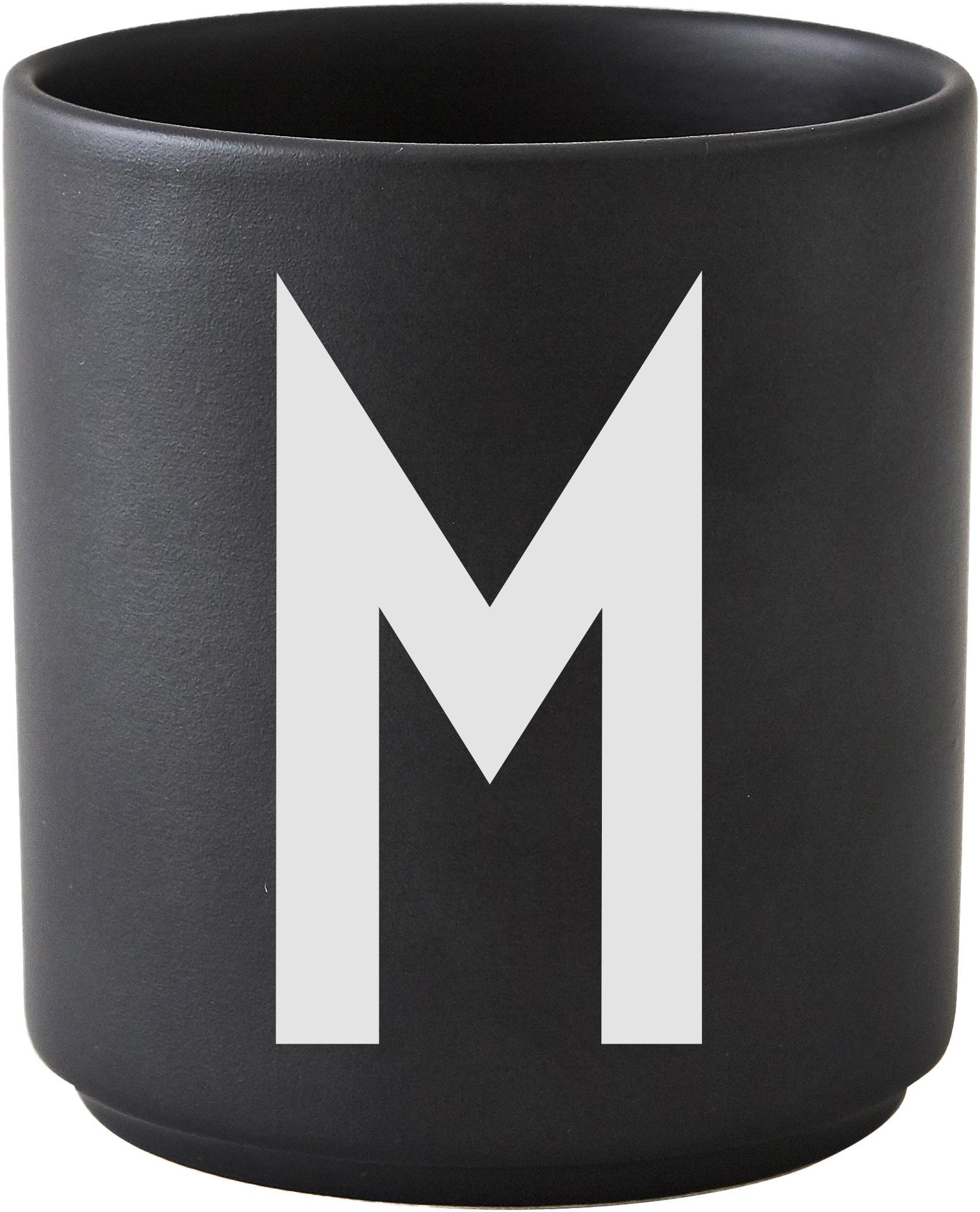 Design Becher Personal mit Buchstaben (Varianten von A bis Z), Fine Bone China (Porzellan), Schwarz matt, Weiß, Becher M