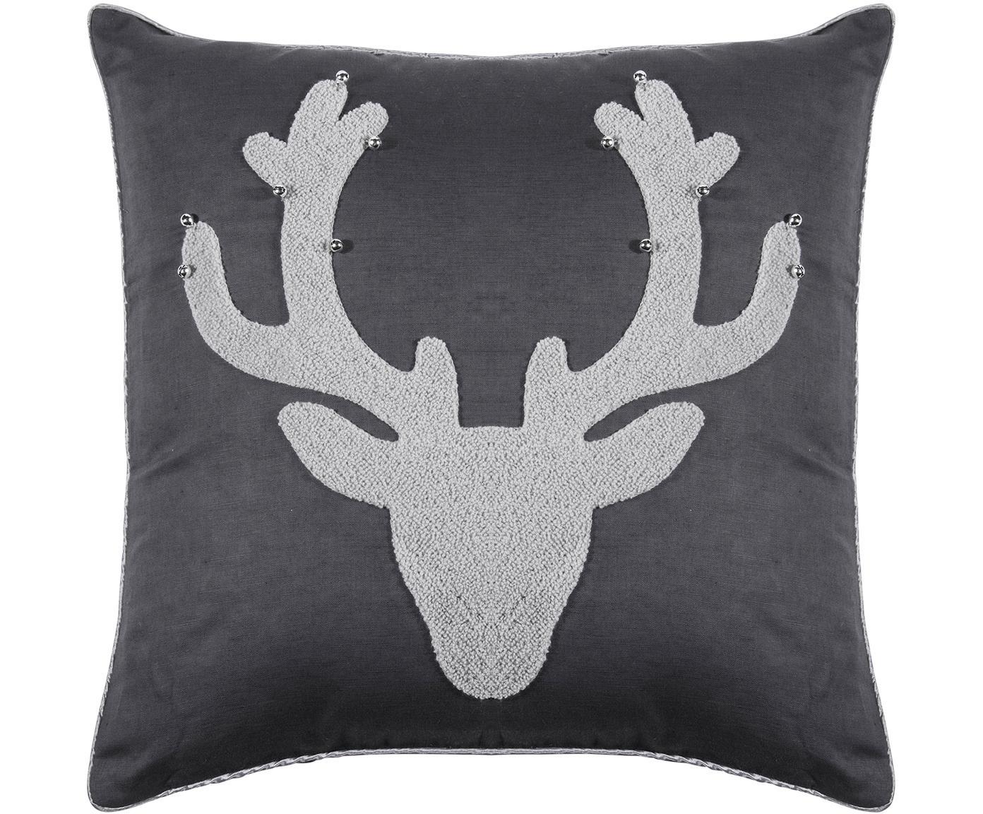 Federa arredo Bell's, 55% lino, 45% cotone, Antracite, grigio chiaro, Larg. 45 x Lung. 45 cm