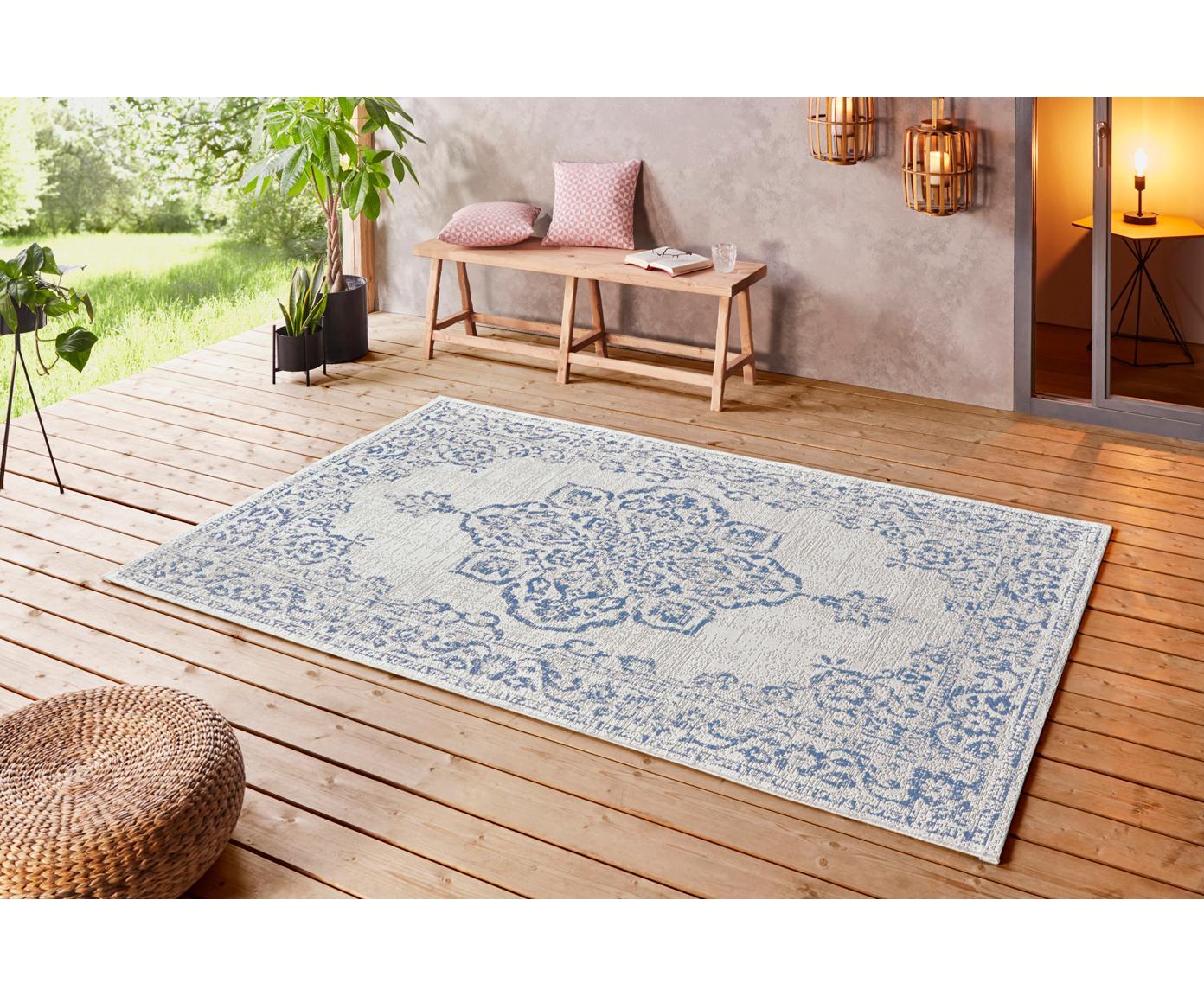 In- & Outdoor-Teppich Navarino Blue im Vintage Look, 100% Polypropylen, Cremefarben, Blau, B 120 x L 170 cm (Größe S)