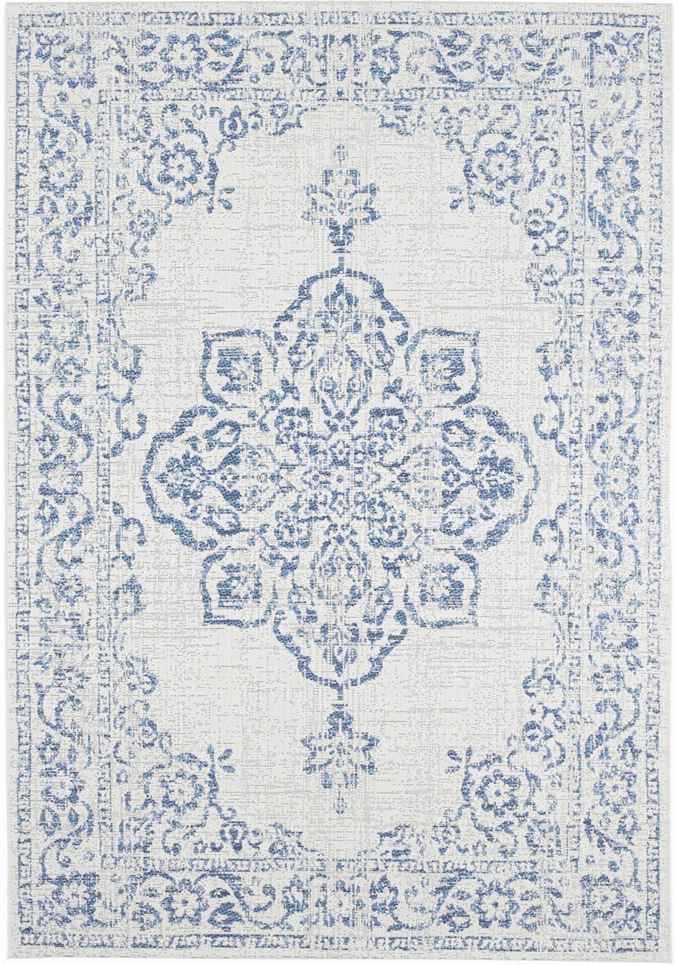 In- & outdoor vloerkleed Navarino blauw in vintage look, 100% polypropyleen, Crèmekleurig, blauw, B 120 x L 170 cm (maat S)