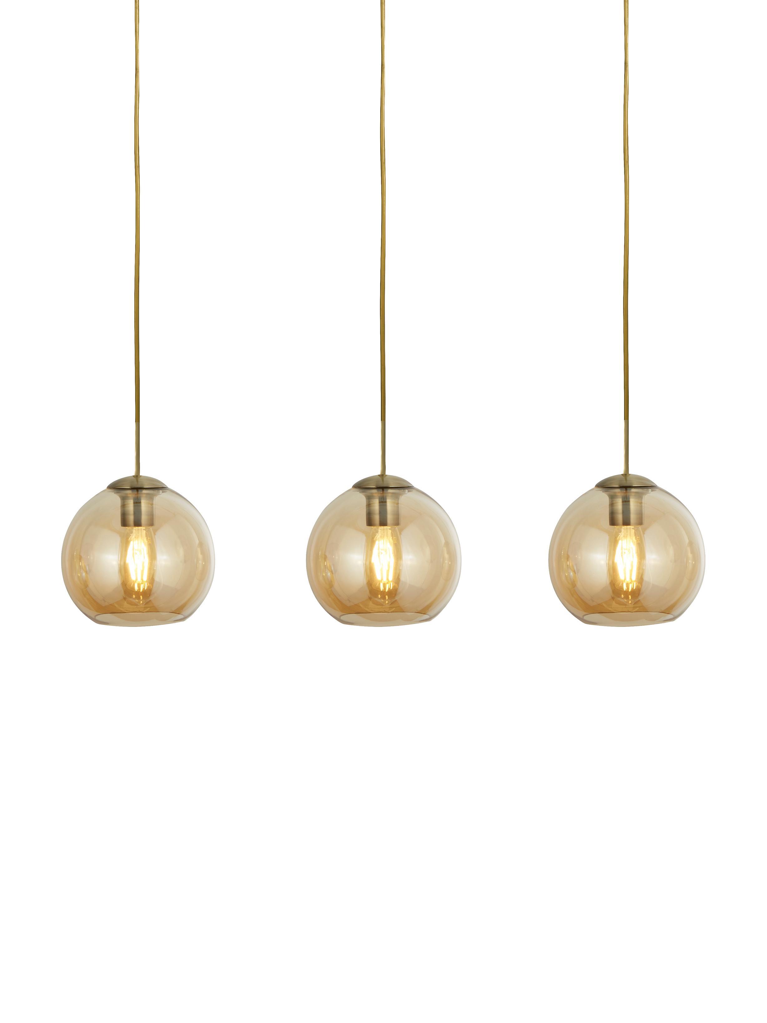 Hanglamp Zoe, Gecoat metaal, glas, Goudkleurig, amberkleurig, transparant, 70 x 20 cm