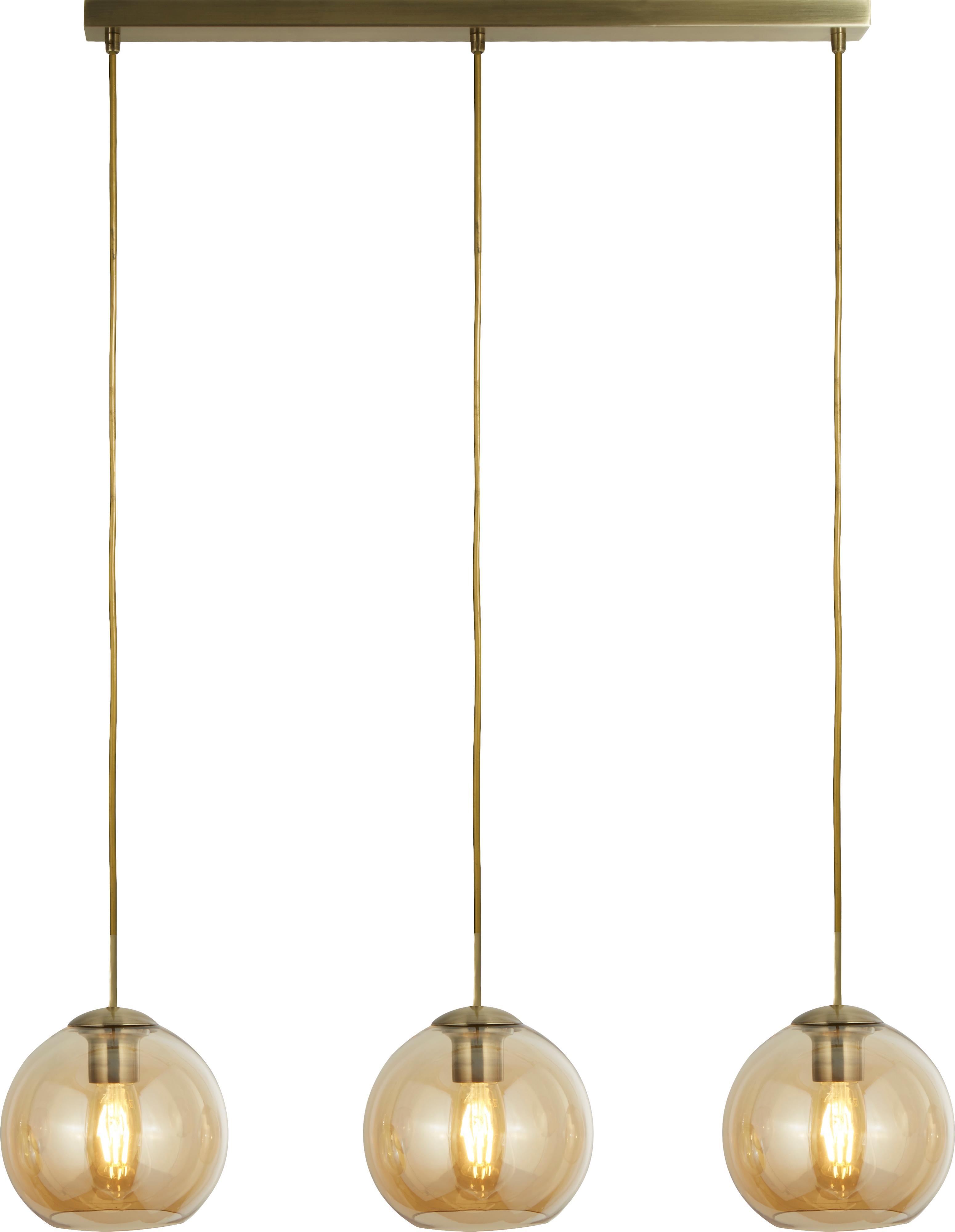 Pendelleuchte Zoe aus Glas, Metall, beschichtet, Glas, Goldfarben, Bernsteinfarben, transparent, 70 x 20 cm