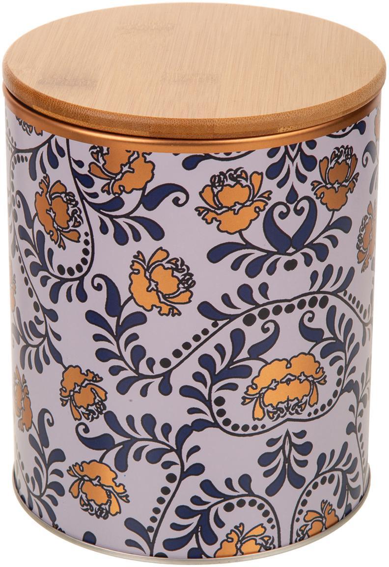 Caja decorativa Flowers, Caja: metal, Tapa: bambú, Beige, dorado, azul, blanco, Ø 14 x Al 17 cm