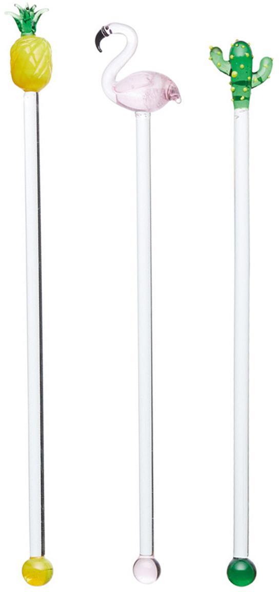 Glas-Cocktailstäbchen-Set Tropica, 6-tlg., Glas, Mehrfarbig, Transparent, L 22 cm