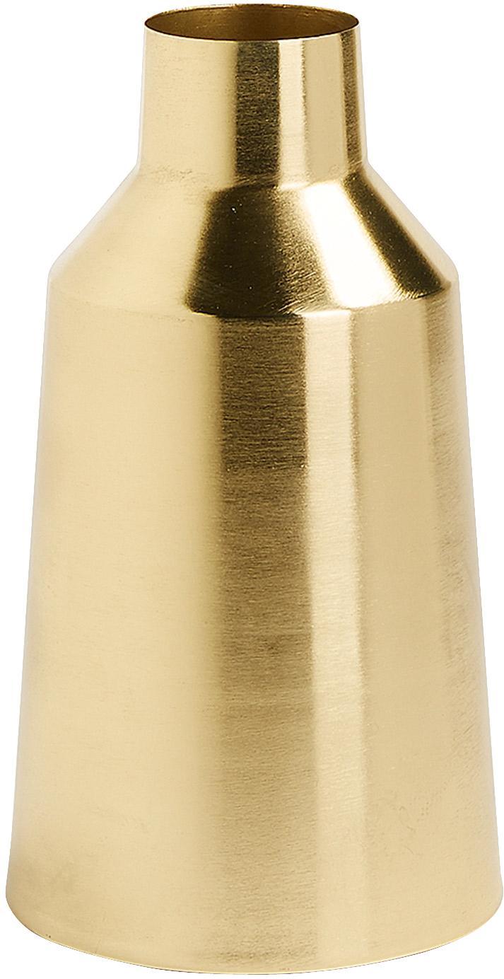 Deko-Vase Carlyn aus Metall, Metall, beschichtet, Messingfarben, Ø 15 x H 26 cm