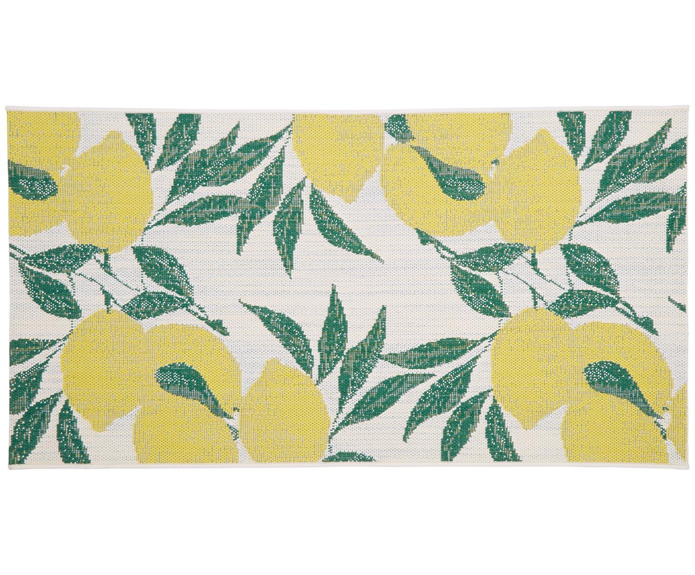 Tappeto da interno-esterno Limonia, Retro: poliestere, Bianco crema, giallo, verde, Larg. 80 x Lung. 150 cm (taglia XS)