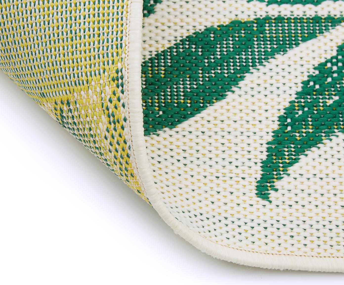 Tappeto da interno-esterno Limonia, Retro: poliestere, Bianco crema, giallo, verde, Larg. 200 x Lung. 290 cm (taglia L)