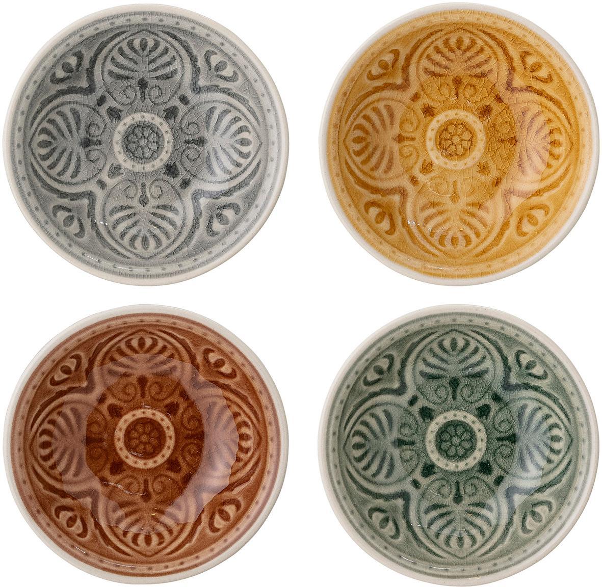 Handgemachte Dipschalen Rani im Marokko Style, 4er-Set, Steingut, Mehrfarbig, Ø 9 cm