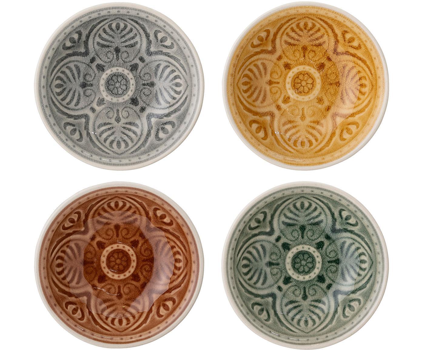 Set de cuencos artesanales Rani, 4pzas., Gres, Multicolor, Ø 9 cm