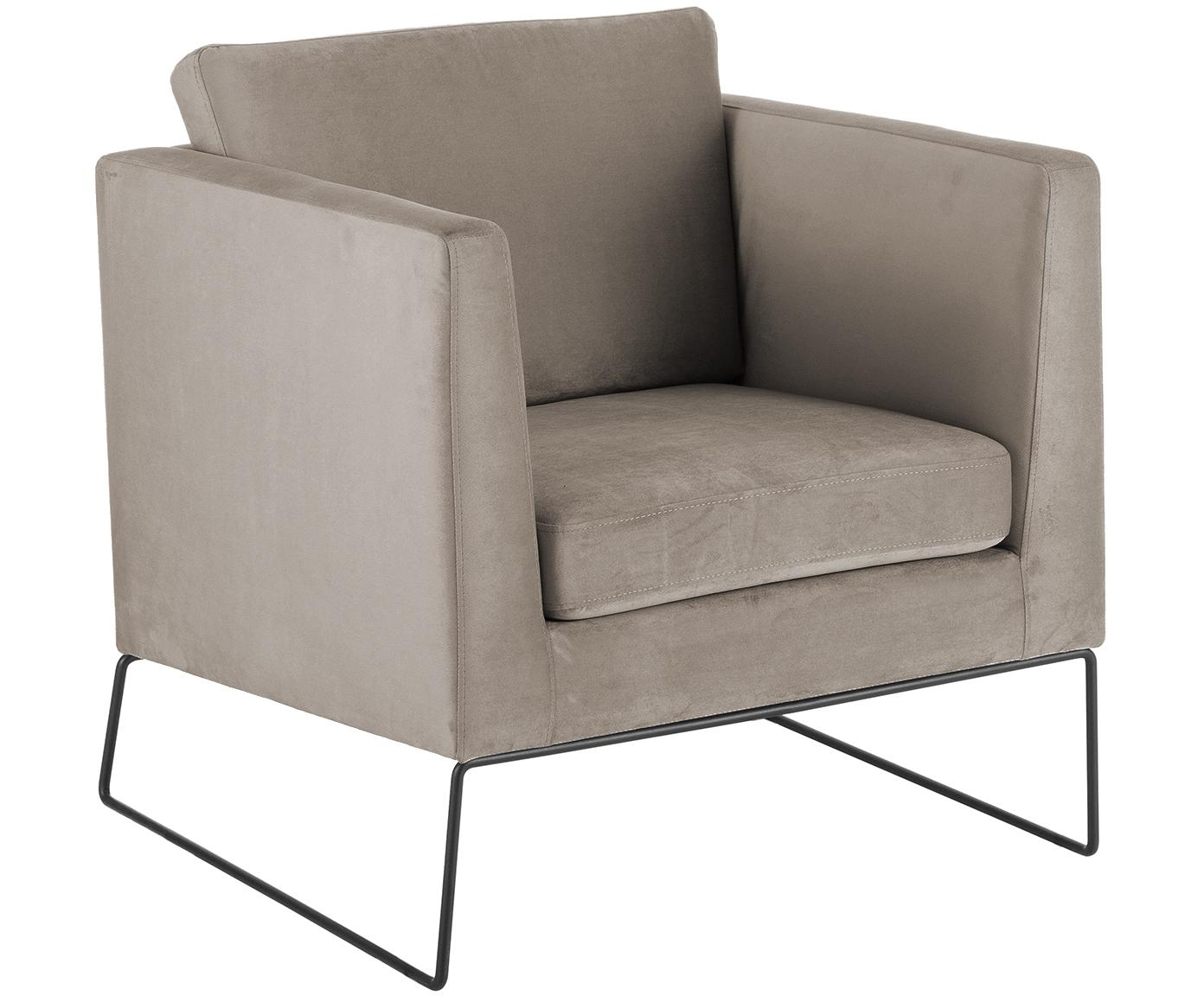Fluwelen fauteuil Milo, Bekleding: fluweel (hoogwaardig poly, Frame: grenenhout, Poten: gelakt metaal, Taupe, 77 x 75 cm