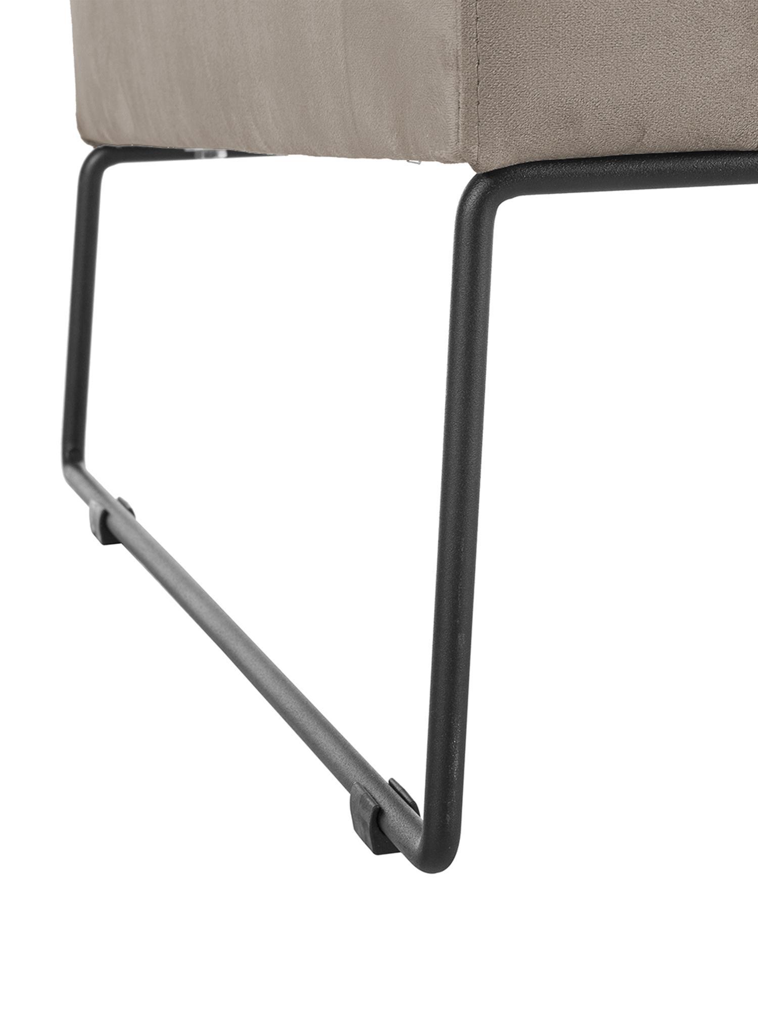 Klassischer Samt-Sessel Milo in Taupe, Bezug: Samt (hochwertiger Polyes, Gestell: Kiefernholz, Beine: Metall, lackiert, Samt Taupe, 77 x 75 cm