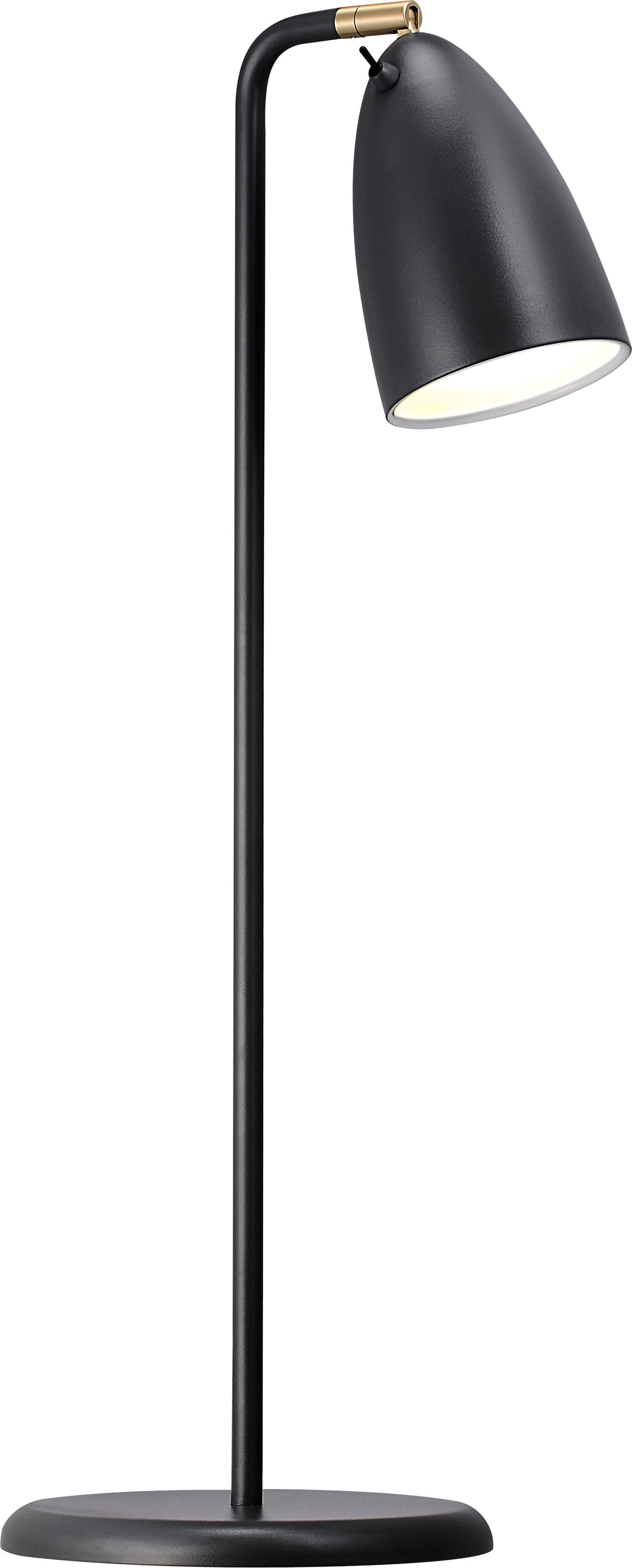 Schreibtischlampe Nexus aus Metall, Lampenschirm: Metall, pulverbeschichtet, Lampenfuß: Metall, pulverbeschichtet, Dekor: Metall, vermessingt, Schwarz, 28 x 63 cm