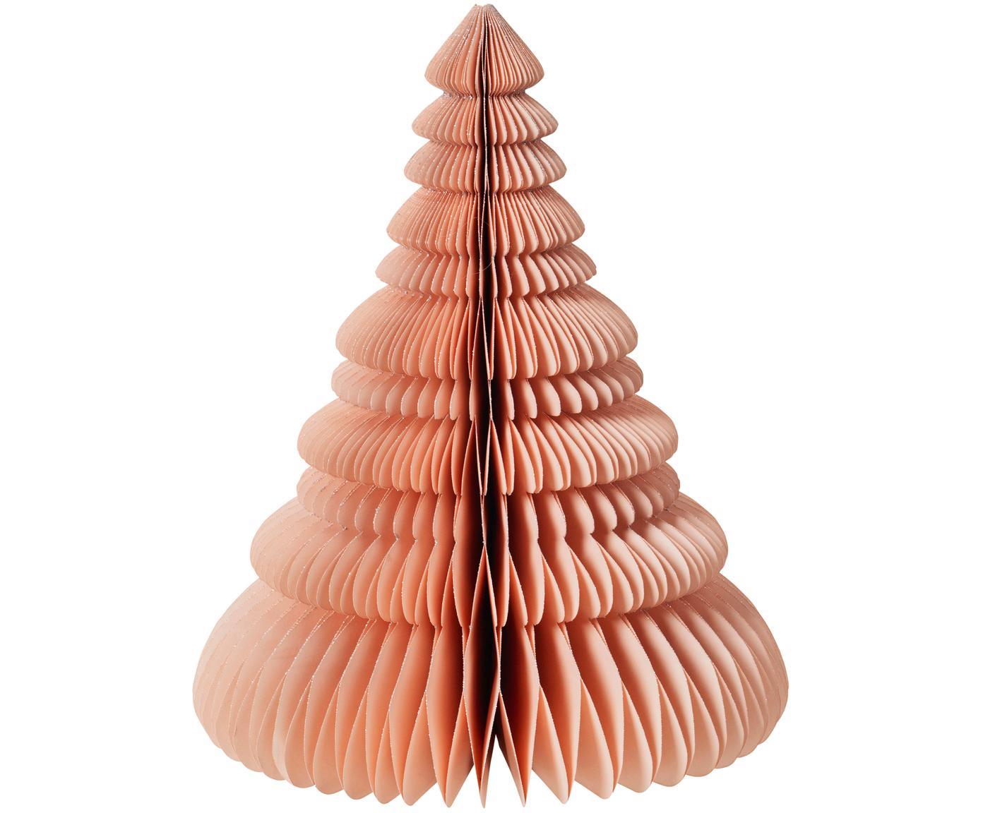 Deko-Objekt Paper Pine, Glitzerpapier, Altrosa, Ø 37 x H 45 cm